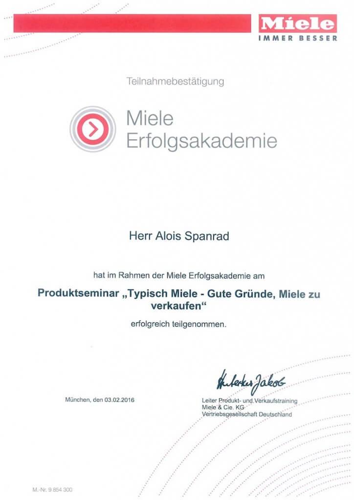 Miele Zertifikat 2016